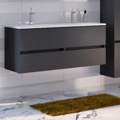 Waschtischunterschrank Brama 120cm 4 Schubladen - graphit/grau-matt
