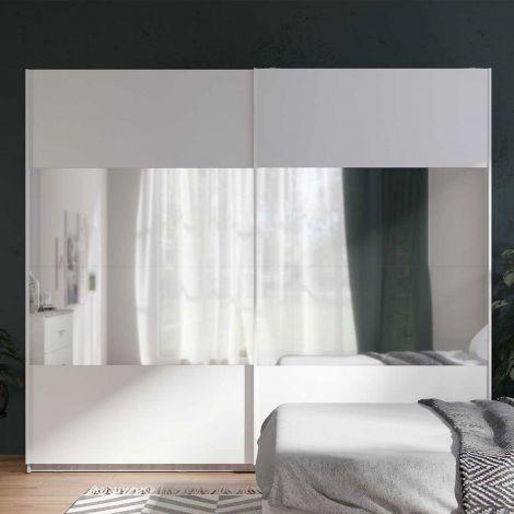 Kleiderschrank Soma 250cm mit 2 Schiebetüren und Spiegel - weiß/beton