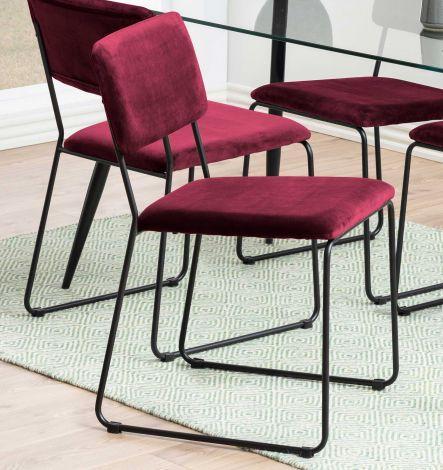 Cornelia dining chair - bordeaux, matt black - set of 2