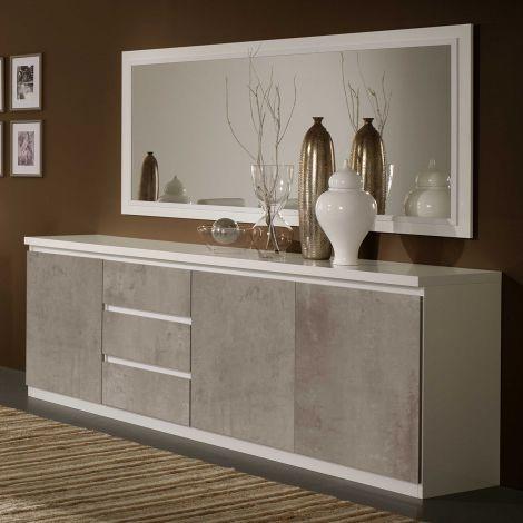 Sideboard Roma 3 Türen und 3 Schubladen - Weiß/Beton