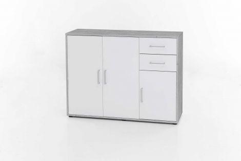 Maxi-Büroschrank 3 Türen und 2 Schubladen - Beton/Weiß