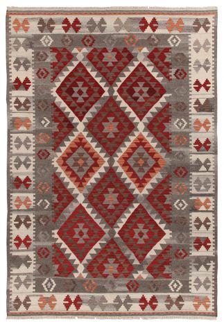 Teppich Kilim Zagros Rot/Grau/Iv 200x140