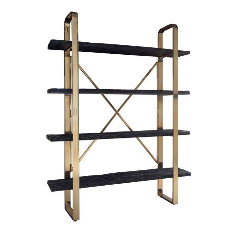 Bücherregal Vendrame mit 4 Fachböden 152cm - gold/schwarz