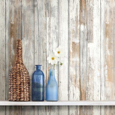 Selbstklebende Tapete Distressed Wood - grau-braun