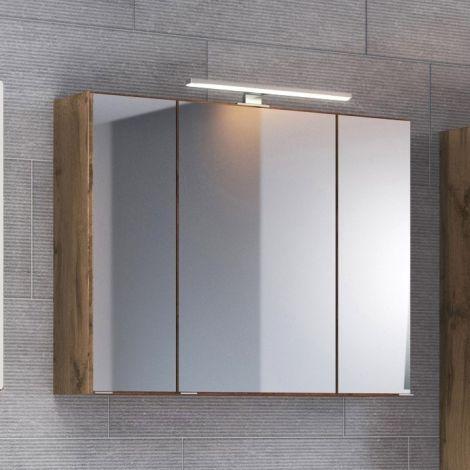 Spiegelschrank Luna 60cm mit 3 Türen und LED-Licht - Eiche