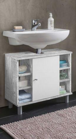 Waschtischunterschrank Benja 1 Tür und 6 Fächer - weiß/Beton