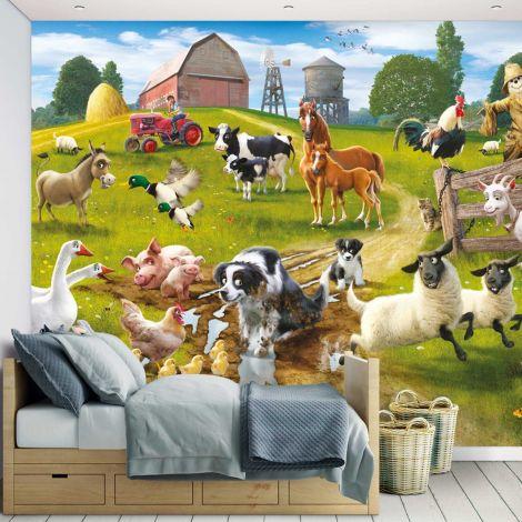 Kindertapete Spaß auf dem Bauernhof