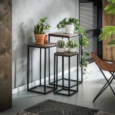 Blumensäule Teca Set - 3 quadratischer Rohrrahmen - Teakholz grau waschen