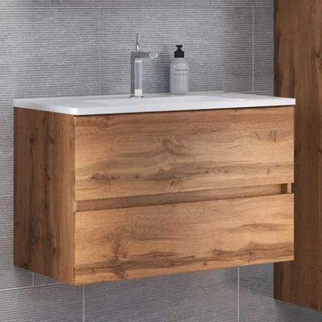 Waschtischunterschrank Brama 80cm 2 Schubladen - wotan eiche