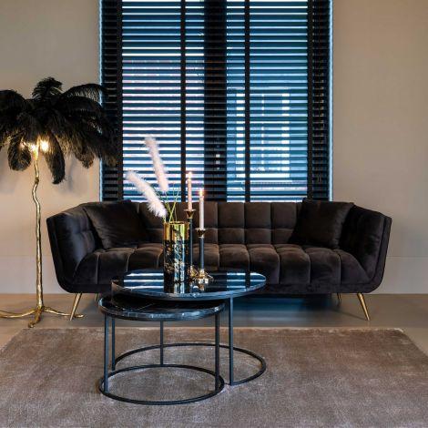 Sofa Huxley 230cm Samt - anthrazit/gold