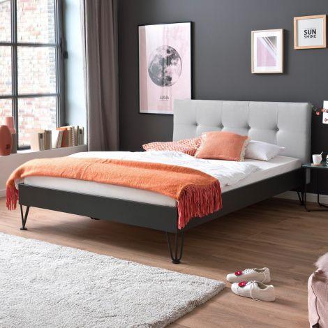Doppelbett Bosko 140x200 mit Haarnadelfüßen - beige/grau