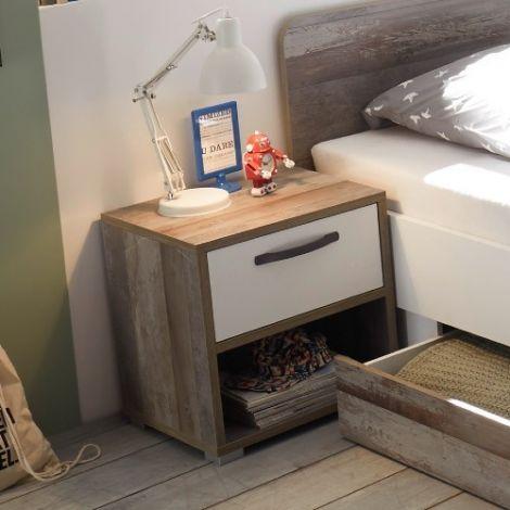 Nachttisch Petrus mit 1 Schublade - weiß/ driftwood